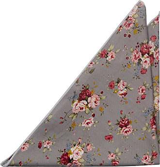 Mouchoir - Roses Rouges, Roses Et Jaunes Sur Fond Gris Avec Encoche De Bord Blanc