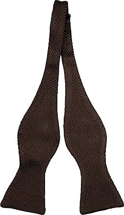 Linen Self tie bow tie - Small white dots on dark brown linen base - Notch MOGENS Notch k4JO2Z