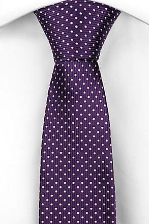 Delgada Corbata - Sólido De Color Púrpura Con Rojo, Amarillo Y Verde Motas Muesca
