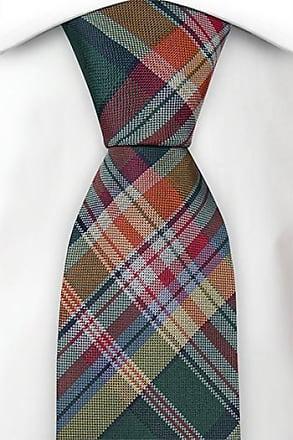 Cravate Mince De Tieroom, Cran Torgny, Carreaux Dans L'encoche Rouge Vert