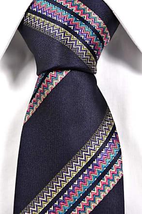 Silk Necktie - Brown base with a multicoloured zigzag pattern Notch V5N2fl1
