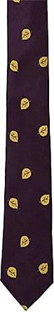 Slim necktie - Aubergine purple satin with golden leaves Notch SeEBr