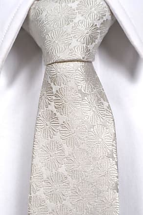 Slim necktie from Tieroom, Notch OSVALD, white flower pattern Notch