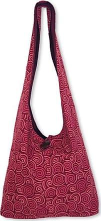 Novica Cotton shoulder bag, Psychedelic Pink