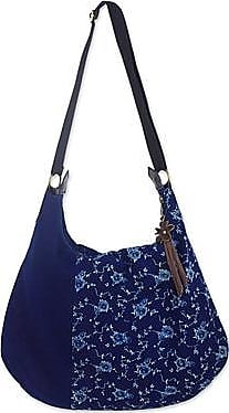 Novica Leather accent cotton hobo handbag, Sea of Flowers