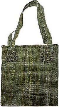 Novica Maguey shoulder bag, Green Maya Flowers