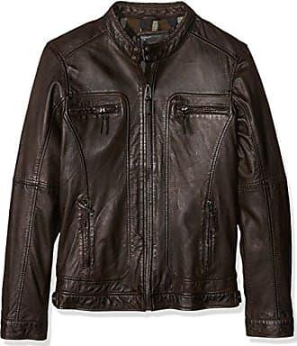 60901 - Veste en cuir - Col à boutons - Manches longues - Homme - Noir, XXX-Large (Taille Fabricant: XXXL)Oakwood
