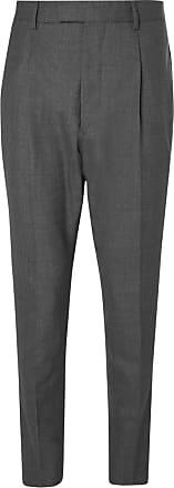 Marcel Gris Pantalon De Costume De Laine Plissée Coniques Officine Generale L29YP4Sgo