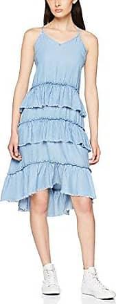 Only Onlluella Raw EDG Frill Dnm DRES Qyt, Vestido para Mujer, Azul (Light Blue Denim Light Blue Denim), 40 (Talla del Fabricante: 38)