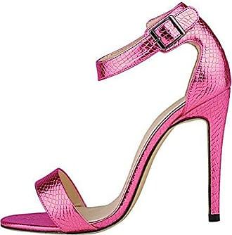 SHOWHOW Damen Offene Zehe Römersandalen Stiletto Pumps Pink 44 EU Xxkcu5