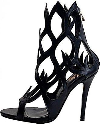 Damenschuhe High Heels Freie Toe Laser Cut Sandale mit Flammeform Kunstleder Schwarz EU36 Onlymaker el6s1B3v