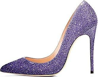 SHOWHOW Damen Glitzer Paillette High Heels Stilettos Pumps Violett 38 EU OSl3SyvBL