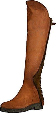 Damen Elegant Langschaft Kunstfell Blockabsatz Overknee Stiefel Braun 38 EU Easemax xvFTI1t0RR
