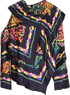 With Mastercard For Sale Sale Latest Collections Peter Pilotto Woman Layered Cutout Printed Silk-twill Blouse Navy Size 14 Peter Pilotto dEliRRJXU5