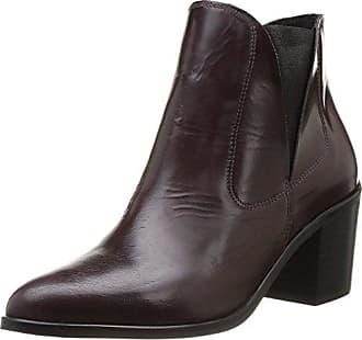 Pieces Umiko Leather Boot Polido, Bottines femmeViolet (Burgundy), 37 EU