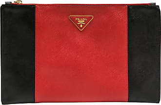 Prada Clutch In Two-tone Black And Red Grained Leather E0G1MVYaGA