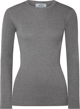 Professional Online Grey ribbed sweater Prada Free Shipping Sale Real Cheap Pre Order Visit New Online 1tx0f9