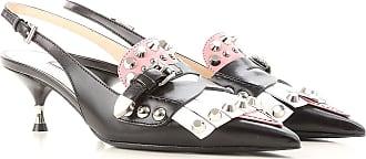 Zapatos de Tacón de Salón Baratos en Rebajas, Negro, Piel, 2017, 37.5 39 Prada