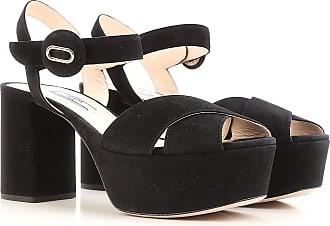 Sandales Pour Les Femmes En Vente, Noir, Cuir Suède, 2017, 4 5 6 Prada