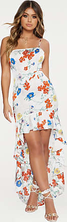 White Floral Print Frill Dipped Hem Maxi Dress Pretty Little Thing 1DX8yqmmH
