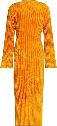 Pringle De Pringle Of Scotland Femme Ecosse Nervuré Orange Taille Robe Midi Chenillé WCVVtI2M