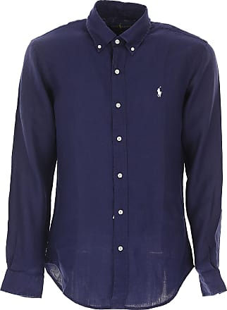 Shirt for Men, Midnight Blue, linen, 2017, S - IT 46 M - IT 48 L - IT 50 XL - IT 52 Ralph Lauren