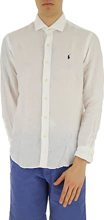 Camisa de Hombre Baratos en Rebajas, Blanco, Lino, 2017, S XL XXL Ralph Lauren