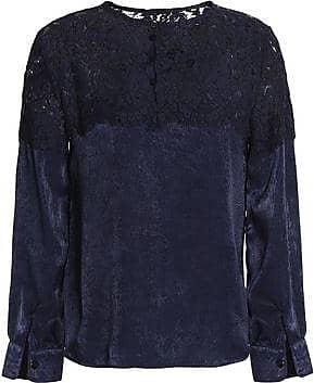 Raoul Woman Cotton-blend Corded Lace And Textured-satin Blouse Navy Size L Raoul Big Sale Sale Online EnX8Hv