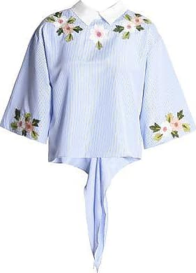Raoul Woman Tie-front Embroidered Gingham Cotton-poplin Shirt Light Blue Size XS Raoul Outlet Eastbay Clearance Collections Footaction Sale Online Cheap Footaction t1Sanq2K5