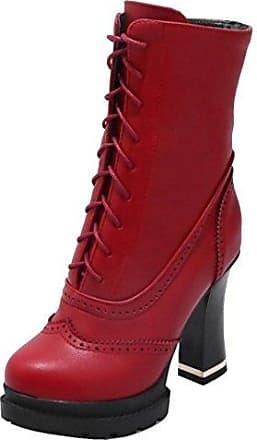 RAZAMAZA Damen Mode High Heel Herbst Stiefel Side Zipper Plateau Schuhe Red Size 34 Asian 5fDXrEXVGa