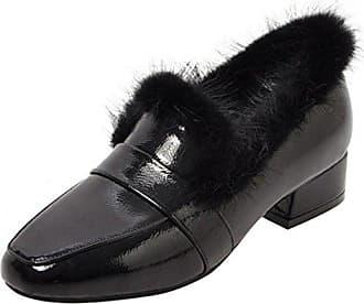 TAOFFEN Damen Herbst Mode Ankle Boots Kurzschaft Stiefel mit Blockabsatz Black Size 33 Asian bY04WxkMY