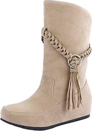 Damen Casual Low Heel Schlupfstiefel (34 EU, Black) RAZAMAZA
