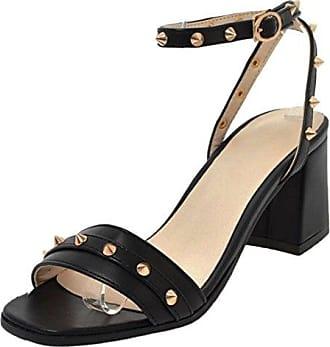 RAZAMAZA Damen Sommer Geschlossene Heels Mules Schuhe Black Size 32 Asian H2gqqlPpH