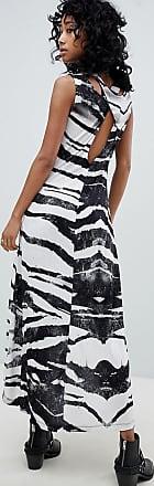 Trägerkleid mit abfallendem Saum und Zebramuster - Grau Religion