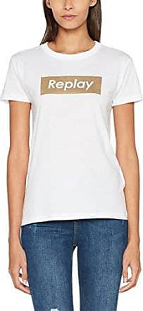 Replay W3995.000.22536g, Camiseta para Mujer, Blanco (Ready To Dye 100), Medium