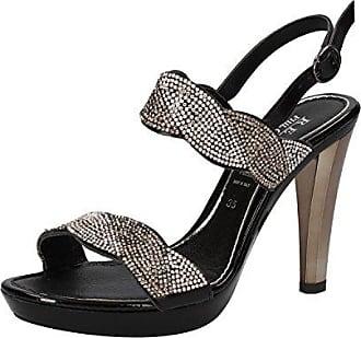 Damen Schuhe mit Riemchen, Schwarz - Schwarz/Grau - Größe: 36 Repo