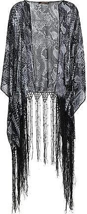 Roberto Cavalli Woman Fringe-trimmed Snake-print Silk-chiffon Coverup Black Size ONESIZE Roberto Cavalli With Mastercard Cheap Price Cheap Sale Sast Free Shipping Pick A Best Free Shipping Best Wholesale 7kAjvx8sJ