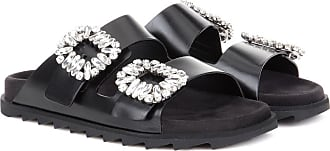 Roger Vivier Slidy Viv Crystal Buckle Metallic Leather Slides ypTEKE4