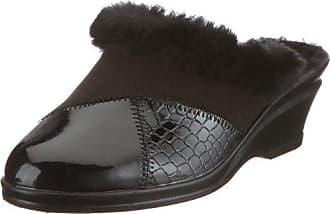Rohde 2504 Farun Damen Hausschuhe Pantoffeln Weite F 1/2, Schuhgröße:38.5;Farbe:Schwarz