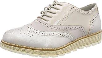 s.Oliver 23651, Zapatos de Cordones Brogue para Mujer, Blanco (White Comb.), 40 EU