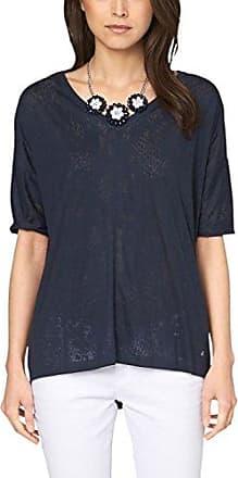 s.Oliver Mit Spitzeneinsätzen, Camiseta para Mujer, Azul (Navy 5959), M (Talla del Fabricante: 38)