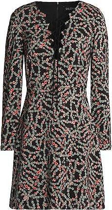 Saloni Woman Lace-up Floral-print Crepe Mini Dress Black Size 10 Saloni YfRWMc84
