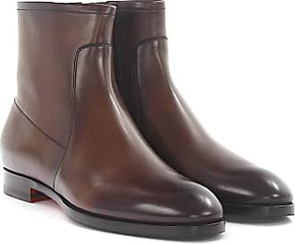 Ankle boots calfskin smooth leather brown Santoni D0GIre