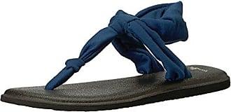 Womens Yoga Sling Ella Flip-Flop, Navy Peony, 11 M US Sanuk