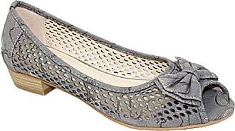 Fantasia Boutique flc106 Damen Kane II Peeptoe Pumps Gepolsterte Innensohle Niedrig Absatz Sandalen Schuhe - Grau, 38