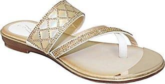 Fantasia Boutique Damen Diamant Contrast Kreuz-Riemen Elastisch Gepolstert Sohle Zehenstegsandalen - Weiß, 38