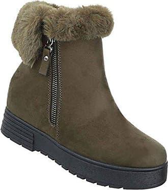 Damen Schuhe Stiefeletten Gefütterte Keil Wedges Boots Olive 37 Schuhcity24 kQmZw4j
