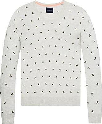 Free Shipping Latest Collections Mens AMS Blauw Allover Printed Crewneck Knit in Regular Fit Jumper Scotch & Soda Cheap Best Wholesale Tdexm1t