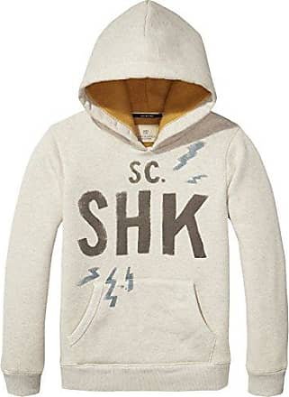 Scotch&Soda Shrunk Crew Neck with Different Artworks and Washings, Sweat-Shirt Gar?on, (Ecru 02), 140 (Taille Fabricant: 10)