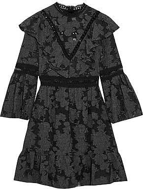 Sea Woman One-shoulder Ruffled Twill Mini Dress Black Size 6 Sea New York xb9056gm
